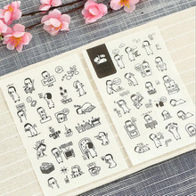 AB54 6 sheets Kawaii Cute Penguin Decorative Stickers DIY Album Keyboard Notebook Adhesive Stickers Student Stationery
