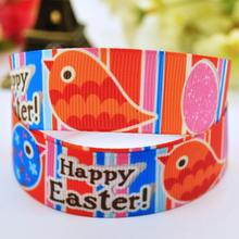 7/8'' (22mm) Happy Easter Cartoon Character printed Grosgrain Ribbon party decoration ribbons X-00089 10 Yards