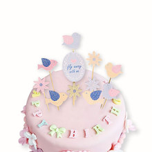 bird Happy Birthday Party Cake Toppers Decoration for kids birthday party favors Baby Shower Decoration Supplies(China)