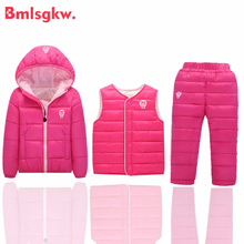 Down Jacket Coat Winter Baby Girls Boys Clothes Sets Children Hooded Coat+Vest+Pants 3 Pcs/1 Lot Kids Infant Warm Outdoot Suits