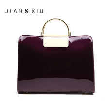 Red Patent Leather Handbags Shoulder Bag Satchel Handbag Saffiano Tote Bags Jelly Luxury Brand Famous Black Women Large Clutch(China)