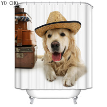 New funny dog shower curtain 3d  Christmas Home Waterproof fabric cat Wolf Bath Curtain for bathroom accessories with 12 hooks