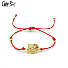 Cute Bear Girls Bowknot Hello Kitty Bracelets Micro Pave CZ Crystal Red Rope String Thread Women Bracelets Lovers Pulseras(China)