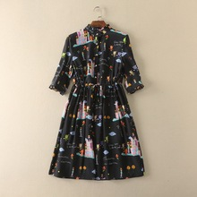 100%Silk Woman's Dress 2017 Summer High Quality Ladies Cute Cartoon Print Drawstring Waist Casual Black Dress Fancy Party Celeb
