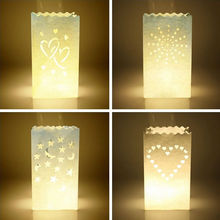 10 Heart Shape White Candle Paper Bag Lantern For BBQ Party Wedding Decoration(China)