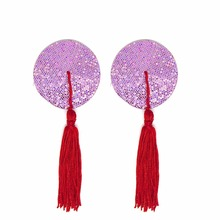 Women Reusable Sequin Nipple Cover Tassels Pasties Sexy Breast Petals Self Adhesive Tape Nipple Stickers Covers Bra Accessories