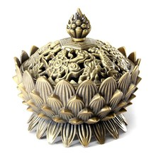 Tibetan Lotus Metal Incense Burner Holder Chinese Alloy Bronze Copper Cone Flower Statue Censer for Home Decor Ornaments Craft