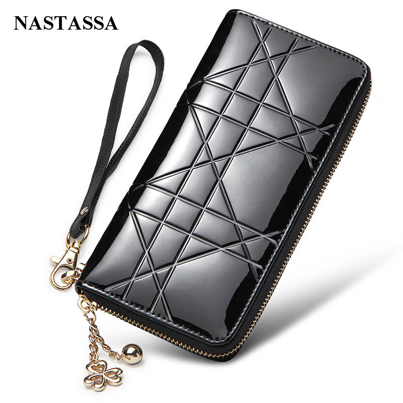 Elegant Womens Wallet Patent Leather Purse Long Designer Brand Wallet Zipper Handbag Day Clutch Cowhide Phone Bags With Straps<br><br>Aliexpress