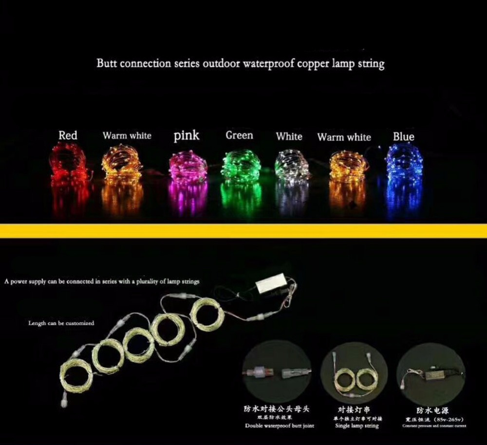 Ac 100m 1000 Led Lights Copper Wire String Light Outdoor Waterproof Diagram 01