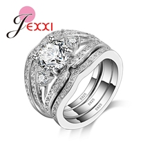 JEXXI 2016 New Fashion Classic 925 Sterling Silver White Crystal Wedding Rings Set For Women Bijoux Bridal Jewerly