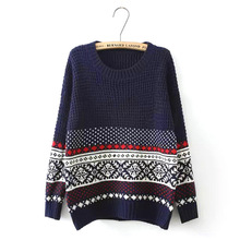 Europe United States sweater women retro snow national wind sweaters women's loose fall winter pullover clothing vestidos MMY016(China)