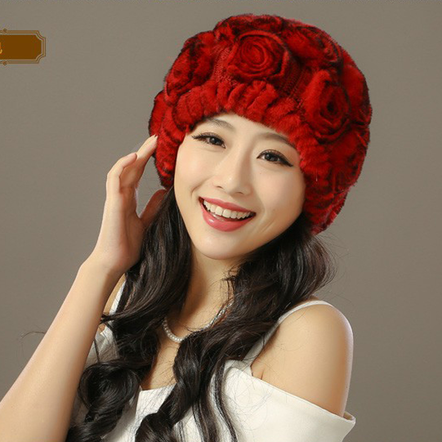 New Arrival Winter 2017 Genuine Natural Knitted Rex Rabbit Hat Beanie Caps Headgear Real Fur Hats Rose Chapeau For Women Одежда и ак�е��уары<br><br><br>Aliexpress