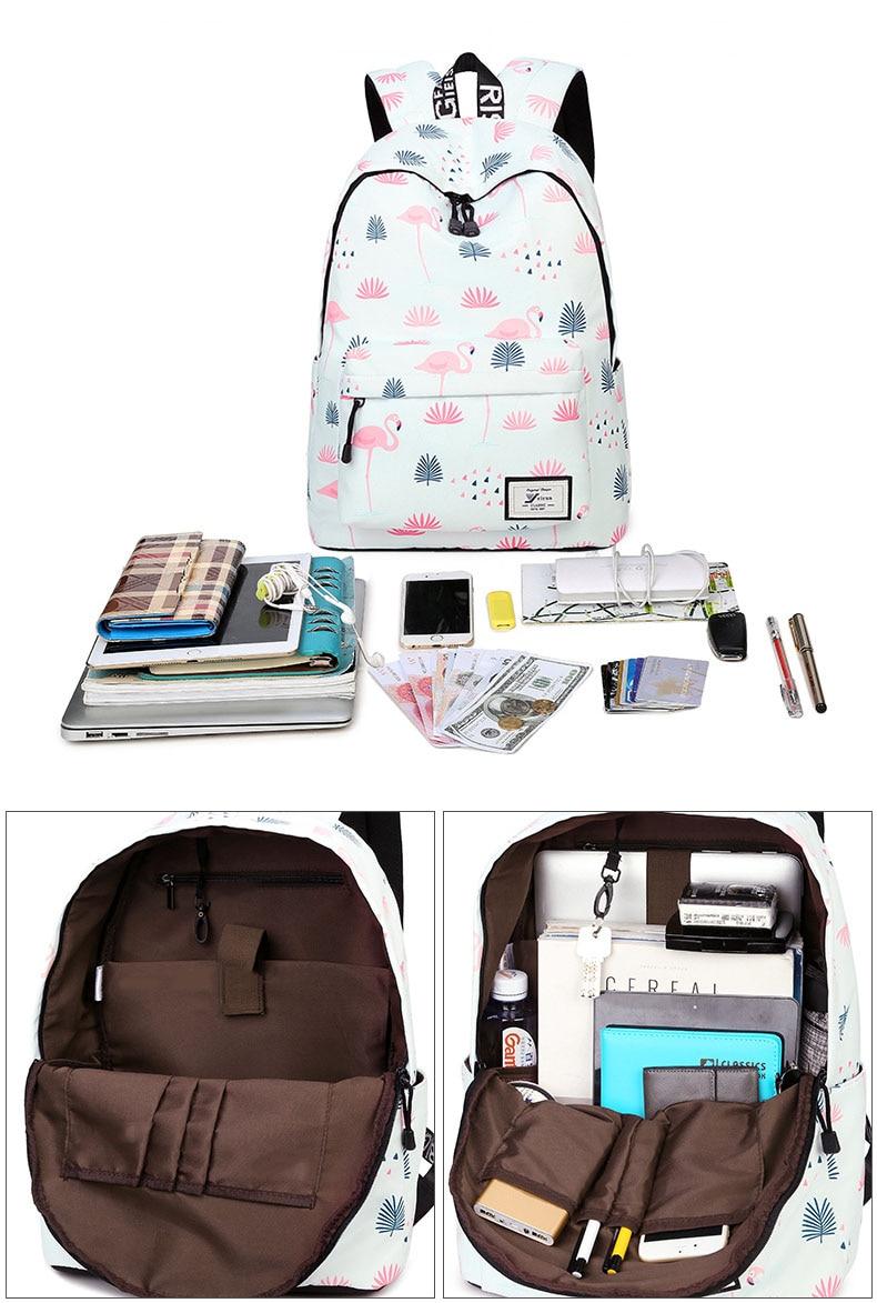 WINNER Fashion Backpack Flamingos Cute School Bags For Adolescent Girls Travel Rucksacks Laptop Mochilas Mujer 2018 (5)