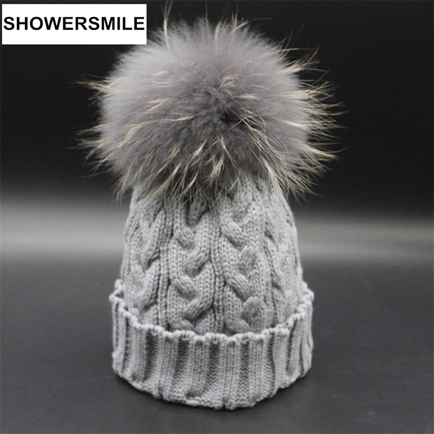 Knitted Hat Women Real Raccoon Fur Pom Pom Hats Winter Warm Skullies Beanies Handmade Solid Gray Brand Woman CapОдежда и ак�е��уары<br><br><br>Aliexpress