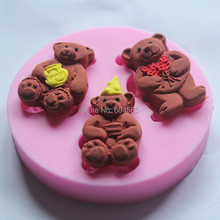Guluote New Arrival 3 Little Teddy Bears Silicone Fondant Silicone Sugar Craft Molds Cartoon DIY Cake Decorating      FM192