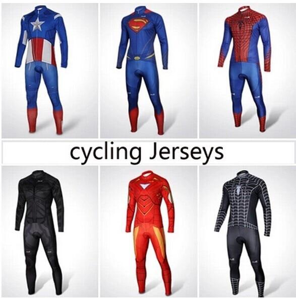 Hot Sale Sportswear Spider man Cycling Jersey Super Man batman ironman superhero Long Sleeve Bike Clothes Cycling Clothing <br>