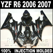 100% Fit bodywork for YAMAHA R6 fairing kit 06 07 Injection molding all glossy black 2006 2007 YZF R6 fairings
