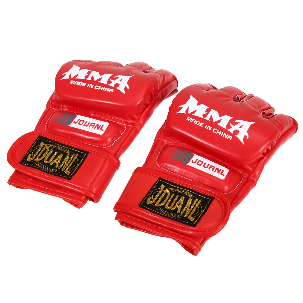 Boxing Gloves MMA Gloves Muay Thai Training Gloves MMA Boxer Fight Boxing Equipment Half Mitts PU Leather Black/Red 14