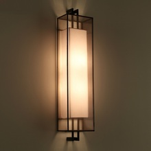 Chinese square iron fabric wall lamp living room bedroom study room teahouse restaurant exhibition hall wall lamp m(China)