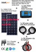 Solarparts 2x100W Monocrystalline Solar Module high efficiency back contact solar panel cell system DIY kits RV marine home camp