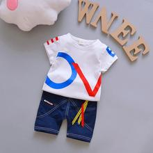 2018 Childrens Clothing Sets Summer Kids Suit Boys Clothing Sets Outfits Baby Boy 2PCS Suit Short Sleeve T shirt + Jeans Short(China)