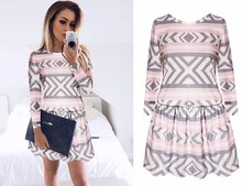 2017 Casual loose spring Geometric shapes stripe printed long sleeves women beach mini elastic waist party dress vestido - Tittok store