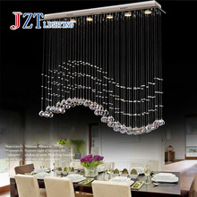 Z Best price LED Restaurant droplight the bedroom lamps and lanterns GU10 shot cup k9 crystal Stainless steel L100xH100cm(China)