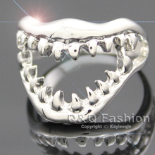 Chic Shark Tooth Skull Hell Demon Mouth Finger Ring Goth Emo Punk Fancy Dress Jewelry 2017 New(China)