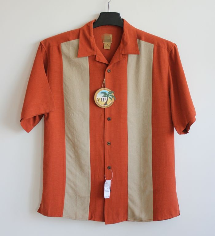 100% Silk Shirt Men Casual Patchwork Short Sleeve Orange Top M