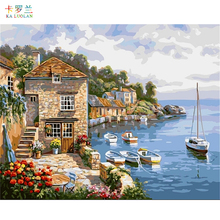 DIY Oil Painting By Numbers Frameless Paint On Canvas Wall Pictures For Living Room Wall Art Home Decor Mediterranean scenery