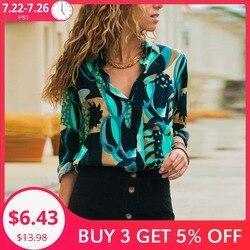 Женская шифоновая блузка с длинным рукавом