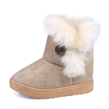 2017 New Winter Kids Snow Boots Girls Boots Suede Buckle Fur Plush Children Winter Warm Shoes Boys Baby Fashion Australia Shoes(China)