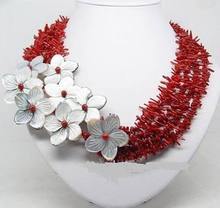 Charming !!! natural red coral shell flower necklace>Dongguan girl jewerly Store