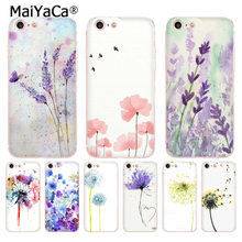 MaiYaCa For iphone 7 6 X Case Watercolor flower Dandelion Lotus Lavender Phone Case for iPhone 8 7 6 6S Plus X 10 5 XS XR XSMAX(China)