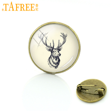 TAFREE Elegant charming winter style deer head art glass pins buck & doe brooches animal scorpion frog hippo badge jewelry T848(China)