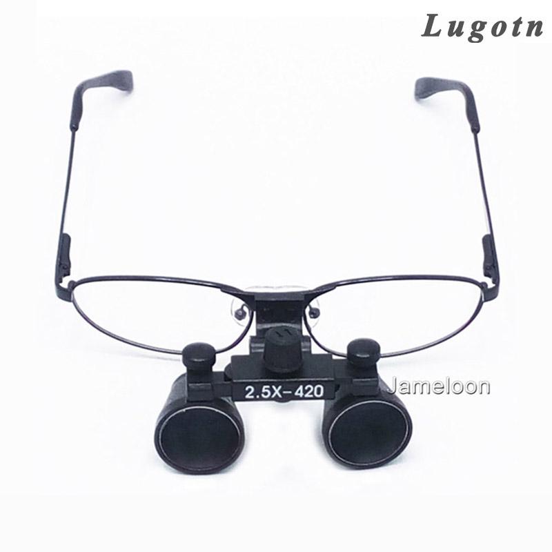 2.5X surgical magnifying lens medical dental loupe metal frame optical changeable nearsighted glass dentist surgical magnifier<br>