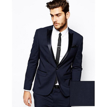 2017 Costume Homme Mariage Fashion Mens Formal Suits Navy Blue Business Suit Men Wedding Suit Mens Tuxedos Prom Tuxedo Coat+Pant(China)