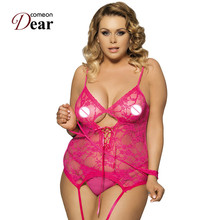 Comeondear RA7600 Plus Size Lace Teddy With Handcuffs Floral Lace Sexy Costumes Lenceria Erotica Mujer Sexi Erotic Lingerie(China)