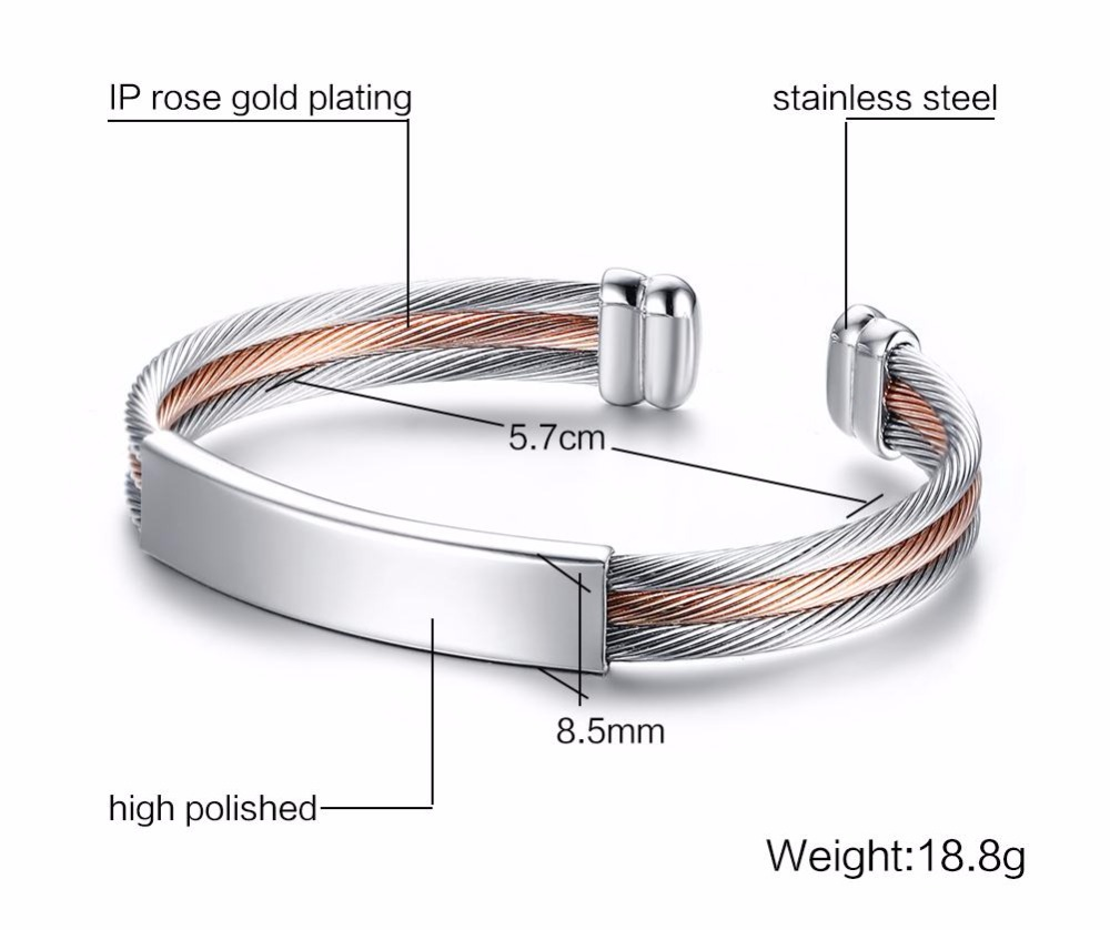 Free engraving Men Women Bracelets Stainless Steel Triple Color Cable Wire Twisted ID Tag  Open Cuff Bangle Bracelet Men Fashion Jewelry pulseira masculina SILVER 14