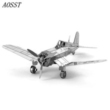 (AOSST)All-metal Stainless Steel DIY Assembly Model 3D Nano Stereo Puzzle Pirate Fighter Aircraft Gifts For Children