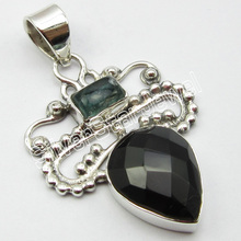 "STAMPED PURE SILVER GREEN AMETHYSTS, BLACK ONYX NEW Pendant 1 3/8""(China)"
