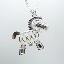 Fancy Model Shiny Silver Donkey Cage with Hollowed Body DIY Love Wish Pearl Pendant Necklace
