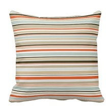 Curly Orange Blue Taupe Dark Brown Stripe Floral Print Cushion Cover (Size: 45x45cm) Free Shipping