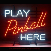 Play Pinball Here Game Room NEON SIGN Beer Bar Pub Art Neon Bulbs Neon Light Real Glass Tube Advertise Neon Recreation room17x14(China)