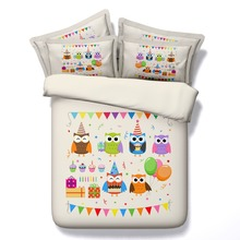 Children cartoon owl 5pcs 100% cotton bedding set with filler twin/full/queen/king/super king size free shipping via UPS(China)