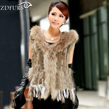 ZDFURS * fashion fur vest  raccoon fur trimming  knitted  rabbit fur vest with hood   fur waistcoat gilet ZDKR-165037