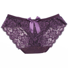 Buy Hot Sale Women Sexy Lace Briefs Hollow Low-rise Panties Flowers Bow-knot Underwear Knickers Solid Color