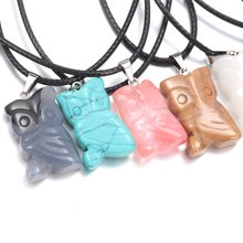 0499 New Arrivals Natural Crystal Agate Stone Pendant Owl Amulet Necklace Pendant For Women Leather Necklace