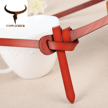 COWATHER Luxury women belts cow genuine leather fashion design strap female nice quality cinto feminino original brand(China)