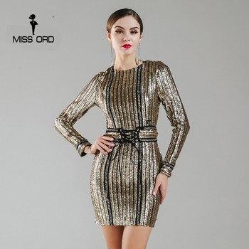 Missord 2017 sexy o-cuello de manga larga de lentejuelas cinturón cuerda dress ft4935